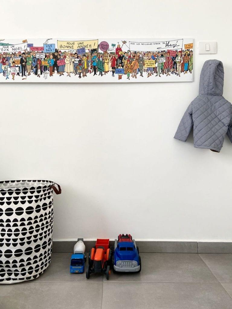 פריטי נוי בחדרי ילדים פוסטר וסל אחסון מודרני
