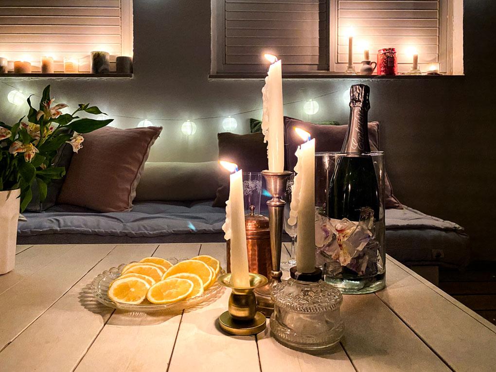 ערב סילבסטר בבית נרות רומנטי אווירה
