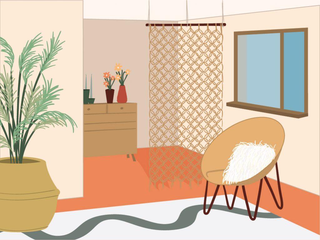 איור של מעיין אקס ובו חדר עם מחיצה
