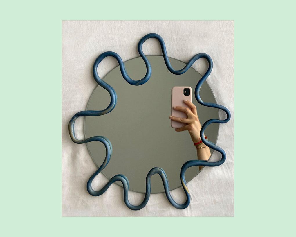 עיצוב מסגרת מראה DIY בסגנון Blob Mirror